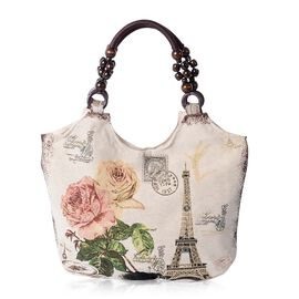 Beige Colour Blooming flower and Eiffel Tower Pattern Tote Bag (Size 43x27x10.5 Cm)