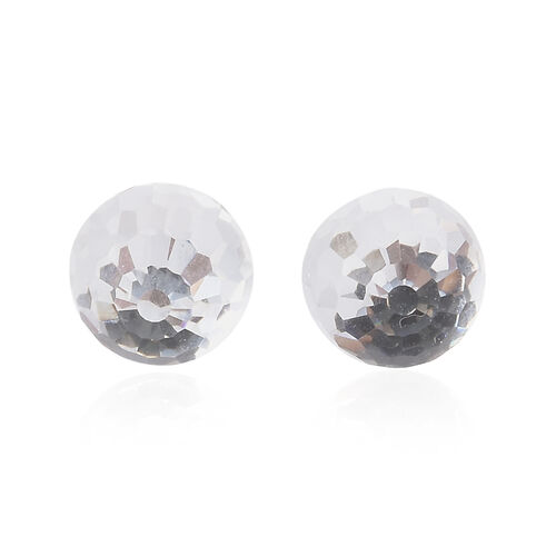 J Francis - Crystal from Swarovski - White Colour Crystal (Disco Ball) Stud Earrings (with Push Back