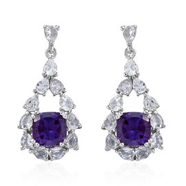 Lusaka Amethyst (Cush 8x8 mm), White Topaz Earrings (with Push Back) in Platinum Overlay Sterling Si