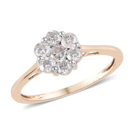 9K Yellow Gold SGL Certified Natural Diamond (I3/G-H) Floral Ring 0.50 Ct.