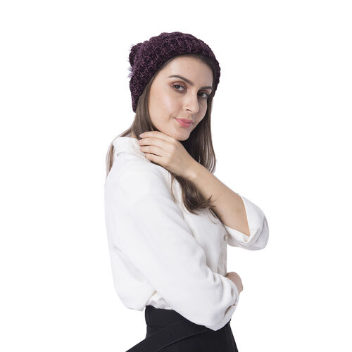 Super Soft Beanie Hat with Faux Fur Pom Pom (One size: 50x31cm) - Maroon