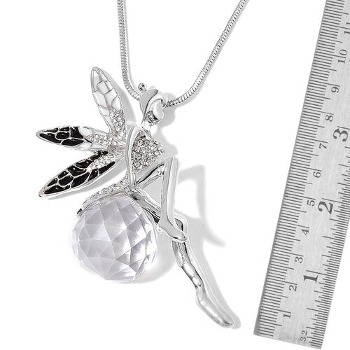 Simulated White Diamond and White Austrian Crystal Black Colour Enameled Fairy Necklace (Size 29) in Silver Tone