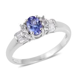 Tanzanite (Ovl), White Topaz Ring in Sterling Silver 1.400 Ct.
