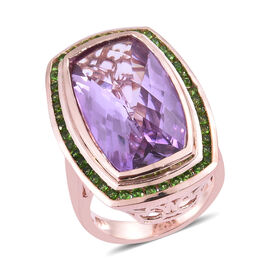 14 Carat Rose De France Amethyst and Russian Diopside Halo Ring in Sterling Silver 9.56 Grams