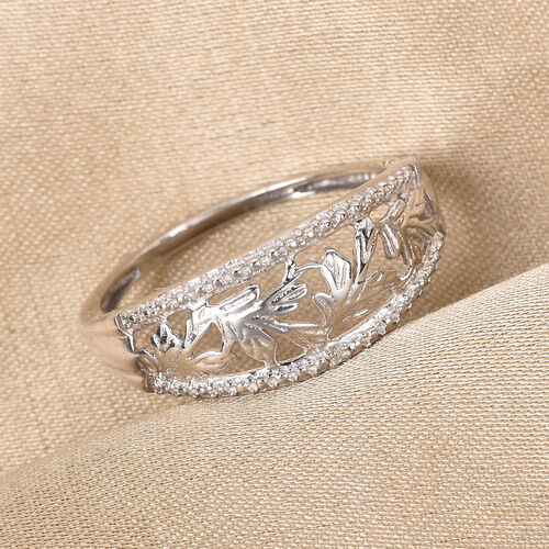 Diamond and Leaf Ring in Platinum Overlay Sterling Silver