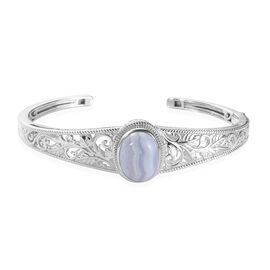 Blue Lace Agate Cuff Bangle (Size 7.5) in Platinum Plated 4.25 Ct.