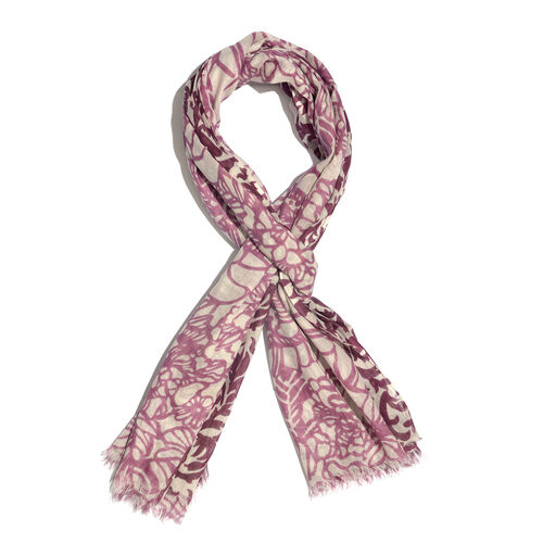 100% Cotton Purple Colour Abstract Scarf (Size 180x100 Cm)