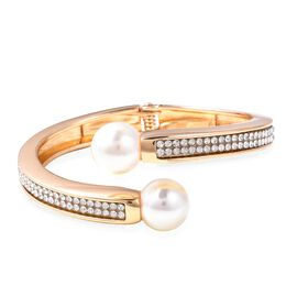 Simulated Pearl (Rnd), White Austrian Crystal Cuff Bangle (Size 6.75) in Gold Tone