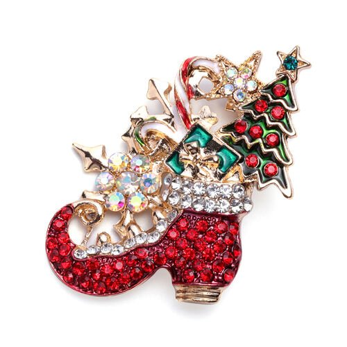 Set of 2 -  Multi Colour Austrian Crystal Christmas Theme Enamelled Brooch in Yellow Gold Tone