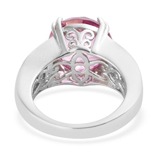 Mystic Pink Topaz (Rnd 9.20 Ct), White Topaz Ring in Platinum Overlay Sterling Silver 11.500 Ct
