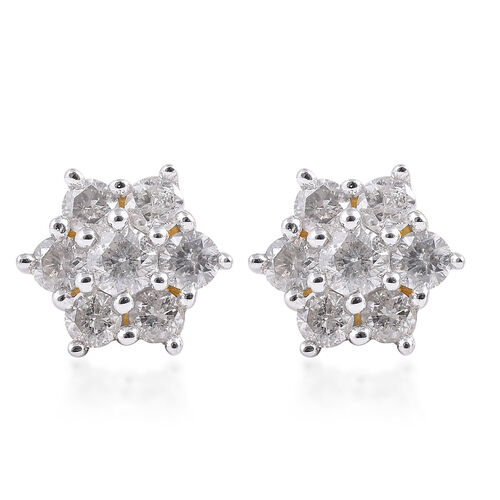 9K Yellow Gold SGL Certified Diamond ((I3/G-H) Floral Stud Earrings (with Push Back) 0.50 Ct.