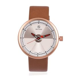 STRADA Japanese Movement Silver and White Colour Dial Water Resistant Watch with Camel Colour Strap