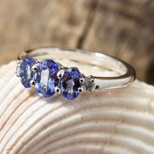 9K White Gold AA Tanzanite (Ovl) Diamond Trilogy Ring