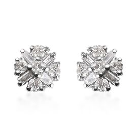 Diamond Cluster Stud Earrings in 9K White Gold