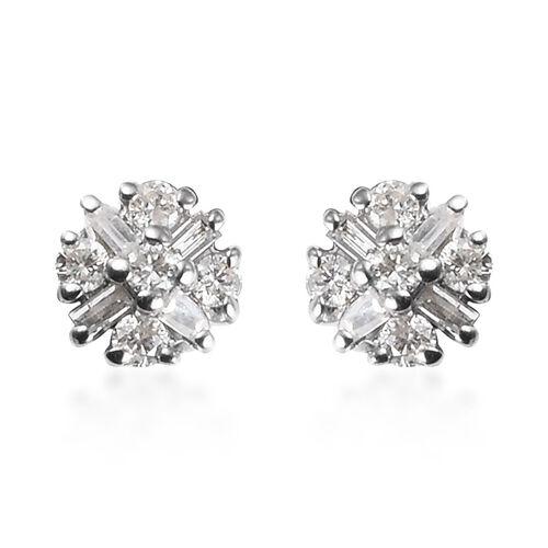 Diamond Cluster Stud Earrings in 9K White Gold