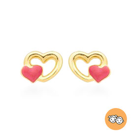 Children Pink Double Heart Stud Earrings in 9K Yellow Gold