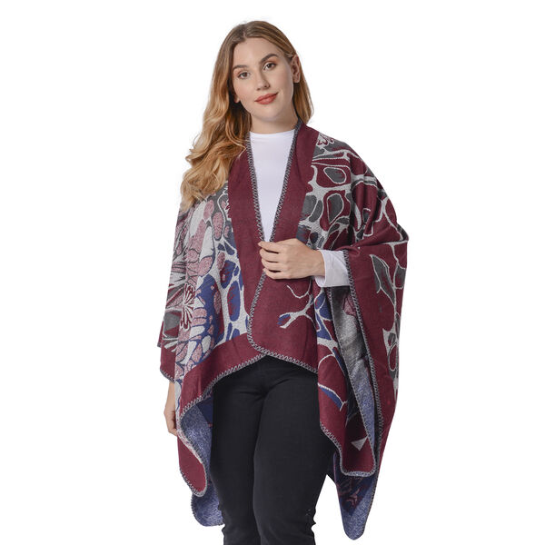 Abstract Floral Print Ruana with Border (Size 130x70 Cm) - Red, Blue & Grey