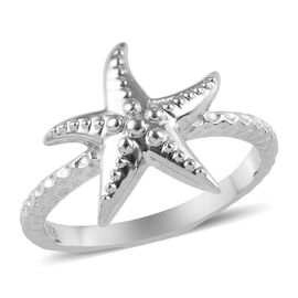 Platinum Overlay Sterling Silver Starfish Ring