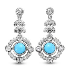 Arizona Sleeping Beauty Turquoise and Natural Cambodian Zircon Dangle Earrings (with Push Back) in P