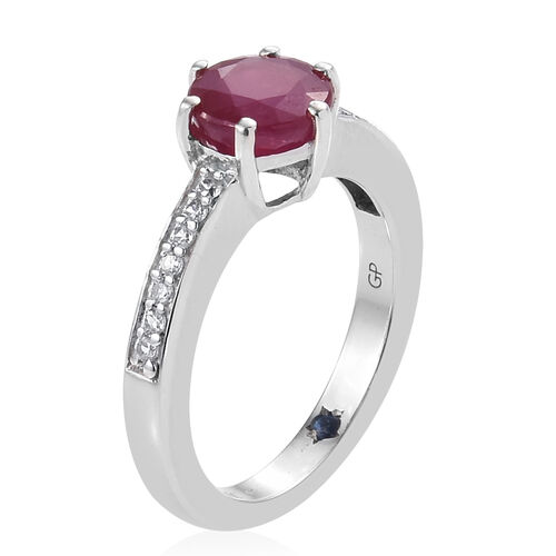 GP African Ruby (Rnd), Natural White Cambodian Zircon and Kanchanaburi Blue Sapphire Ring in Platinum Overlay Sterling Silver 2.250 Ct.