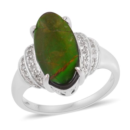 Canadian Ammolite (Ovl 18x9mm), Natural White Cambodian Zircon Ring in Rhodium Plated Sterling Silver 4.740 Ct.