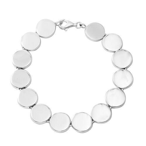 Designer Inspired -Sterling Silver Coin Bracelet (Size 7.5), Silver wt 14.60 Gms.