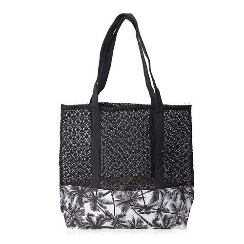Black and White Colour Coconut Tree Lace Pattern Large Tote Bag (Size 41x39.5x35.5x9.5 Cm)