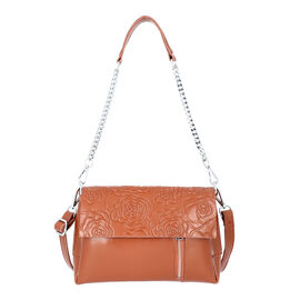 100% Genuine Leather Multiple Pocket Rose Pattern Flap Bag with Detachable Shoulder Strap (Size 25x9