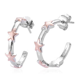 Platinum and Rose Gold Overlay Sterling Silver Star J Hoop Earrings (with Push Back)