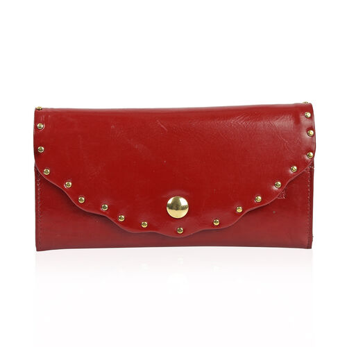High Glossed 100% Genuine Leather Sassy Cherry Clutch Wallet with RFID Blocking (Size 19X2.5X10 Cm)