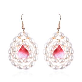 Glass (0.00 Ct),White Glass Pearl 100IR Mix Metal Earring  0.002  Ct.