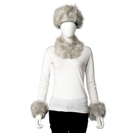 3 Piece Set - Faux Fur Hat, Scarf and Cuff Bracelet - Grey