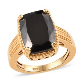 Elite Shungite (Cush 14x10 mm) Ring in 14K Gold Overlay Sterling Silver 4.00 Ct.
