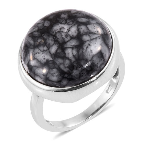 Austrian Pinolith (Rnd) Ring in Platinum Overlay Sterling Silver 18.750 Ct.