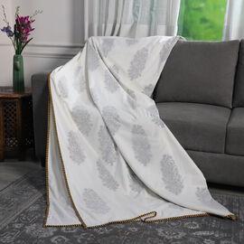 Reversible Hand Block Printed Cotton Muslin Dohar Summer Throw Blanket -Yellow Floral Design
