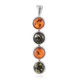 Multi Colour Baltic Amber (Rnd) Pendant in Sterling Silver, Silver wt 6.00 Gms