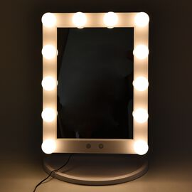 Large Three Light Effect LED Mirror with Smart Touch Sensor (Size 45x30x2.5 Cm)