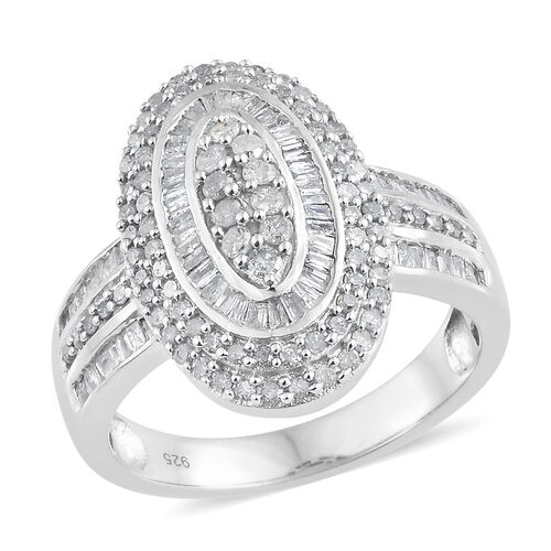 Diamond (Rnd) Cluster Ring in Platinum Overlay Sterling Silver 1.325 Ct. Silver wt 6.98 Gms. Number