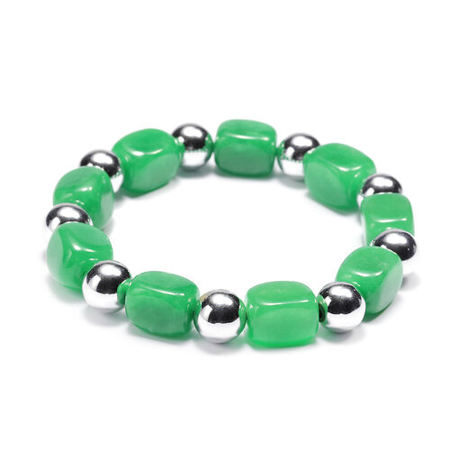 One Time Mega Deal-Green Jade and Hematite Stretchable Bracelet (Size 7.25)