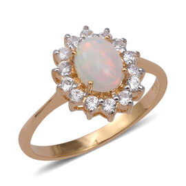Ethiopian Welo Opal (Ovl 8x6mm) and Natural Cambodian Zircon Ring in Yellow Gold Overlay Sterling Si