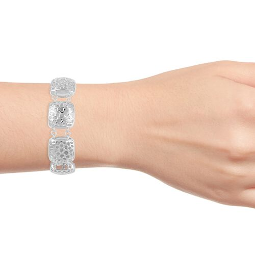 RACHEL GALLEY Rhodium Plated Sterling Silver Memento Diamond Bracelet (Size 8 with Extender), Silver wt 43.59 Gms.