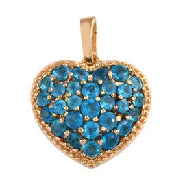Malgache Neon Apatite (Rnd) Heart Pendant in 14K Gold Overlay Sterling Silver Pendant 1.500 Ct.