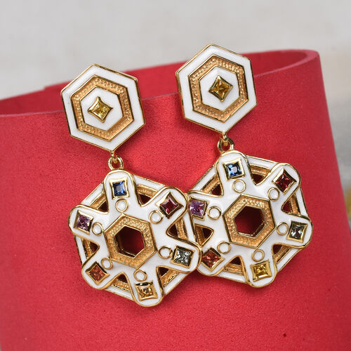 Orange, Yellow and Multi Sapphire Earrings (with Push Back) in 14K Gold Overlay Sterling Silver 1.00 Ct, Silver wt 8.85 Gms