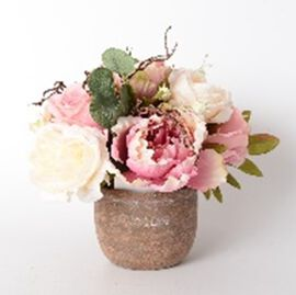 Home Decor Pink and White Peony with Ceramic Pot (Size 25 Cm)