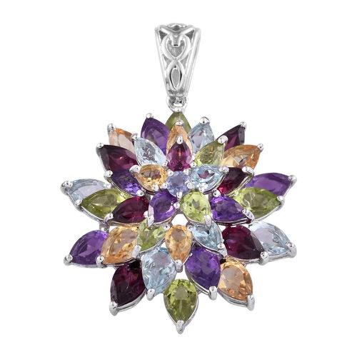 Rhodolite Garnet (Pear), Hebei Peridot and Multi Gemstone Cluster Pendant in Platinum Overlay Sterli