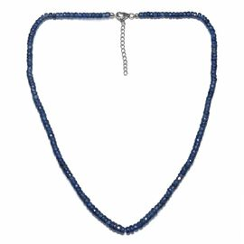 Masoala Sapphire (Rnd) Adjustable Necklace (Size 18 with 2 inch Extender) in Sterling Silver with Lo