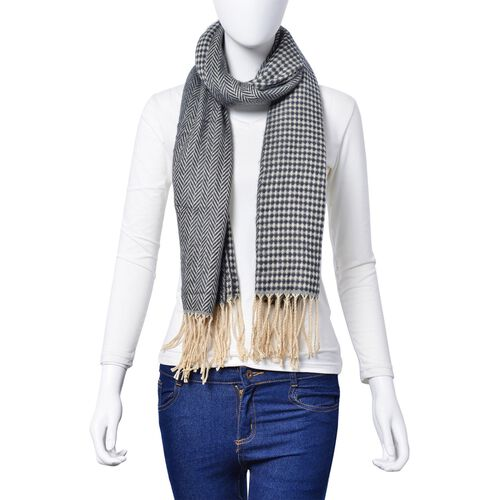Navy and White Colour Herringbone and Diamond Pattern Scarf with Long Tassels (Size 180x65 Cm)