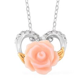 Pink Mother of Pearl and Natural White Cambodian Zircon Floral Heart Pendant with Chain (Size 18) in