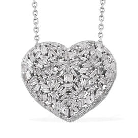 GP Diamond (Bgt), Blue Sapphire Heart Pendant with Chain (Size 20) in Platinum Overlay Sterling Silv