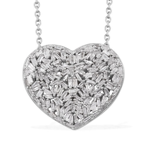 GP 1.02 Ct Diamond and Blue Sapphire Heart Cluster Pendant with Chain in Platinum Plated Silver